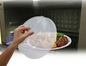 Plastic Microwave Plate Cover Clear Steam Vent Splatter Lid 10quot; Food Dish New