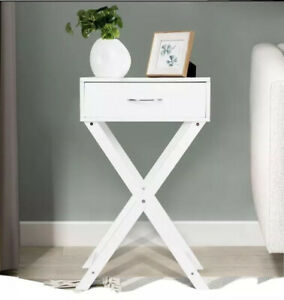 Costway Nightstand X Shape Drawer Accent side End Table Modern Furniture $89.99