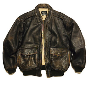 AVIREX Aces A 2 Flight Jacket Brown Distressed Leather Bomber Vintage Large