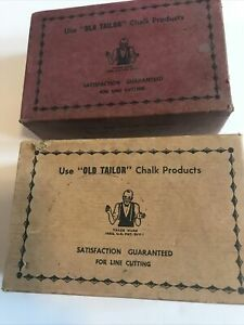 Vintage tailors chalk pencil Set Of 2 Boxes Yellow amp; Red Clay Chalk $18.80