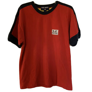 Vintage Polo Sport T Shirt 90's Spell Out Patch Logo Ringer Men's Size XL Red $29.99