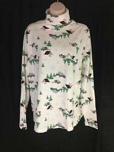 Time and Tru Womens Long Sleeve Turtle Neck Used Camping Print Sz XL 16 18 EUC