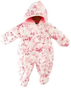 Rothschild Girls Hooded Pram Snow Suit Pink Floral Sizes 3 6 Month or 6 9 month $19.99