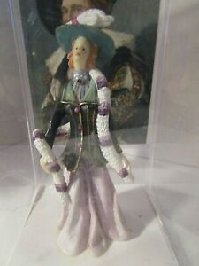 Vintage Resin Victorian Lady Figurine In Purple 5quot; T Artisan Flair Doll House $17.99