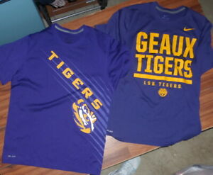 2 PAIR MENS NIKE LSU TIGERS PURPLE POLYESTER DRY FIT T SHIRTS SIZE LARGE L MINT $39.99