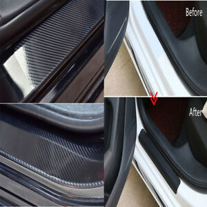 New Accessories Carbon Fiber Black Car Door Sill Scuff Plate Sticker Protector