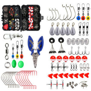 Fishing Accessories Kit 263PCs w Pliers Tackle Box for Saltwater Freshwater