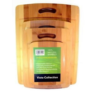 4 piece Bamboo Cutting Board Set: Four Convenient Wood Sizes. Two tone Chopping $24.99