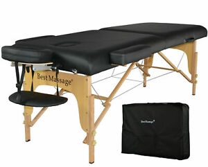 New BestMassage Black 77quot;L 3quot; Pad Portable Massage Table Facial Bed Spa Chair