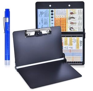 Black Foldable Nursing Clipboard w Pen Holder Medical Penlight and Ref Guides