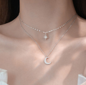 Layered Star Moon CZ Pendant 925 Sterling Silver Choker Necklace Women Gift PE55