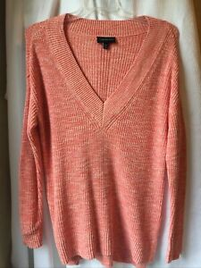 Lane Bryant Orange Thick Cable Knit Deep V Sweater Size 14 16 Plus Womens $9.99