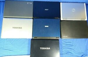 LOT OF 7 BROKEN LAPTOP COMPUTERS TOSHIBA DELL ACER * AS IS *