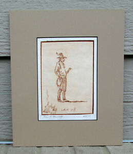 Ace Powell 1912 1978 Hand Signed Etching Montana Cowboy Western Art 60 100 $27.50