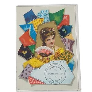 Patchwork Quilt Lady Fan Sewing Large Antique Victorian Trade Card Scrap $7.46