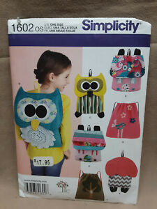 Sewing Pattern for Kids Backpacks Simplicity 1602 NEW $6.00