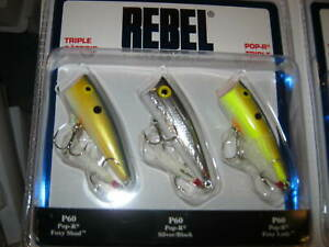 rebel lures top water lures pack of 3 colors may vary