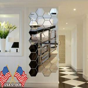 DIY 3D Removable Wall Stickers Mirror Hexagon Vinyl Decal Home Decor Art 12Pcs $9.99