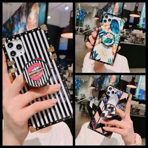 For Samsung S21 S20 S10 S9 Note20 10 9 Luxury Marble Metal Square Case w Holder $10.99