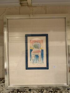 Very Rare Peter Max Limited Edition Lithograph Chair Signed 120 280 Framed $400.00