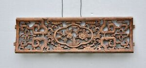 Antique Chinese Wood Carving Carved Panel Qing Dynasty 19th c $150.00