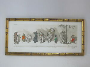 BORIS O#x27;KLEIN Dirty Dogs of Paris CHACUN Son TOUR Framed Hand Colored Etching $125.00