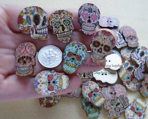 46 Sugar Skull Day of the Dead Wooden Sewing Buttons Halloween Mix Set Flat Back $9.99