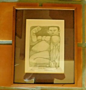 VINTAGE 1980 PENCIL SIGNED ROLAND RAY ETCHING quot;MACHO MANquot; 17 500 HAWAIIAN ARTIST $80.00