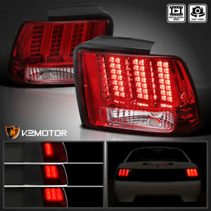 Fits 1999 2004 Ford Mustang Red Tail Lights Sequential LED Signal Brake Lamps $137.38