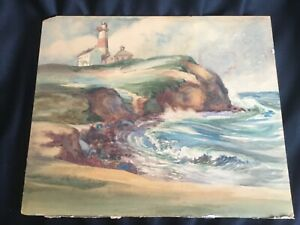 Vintage Watercolor Painting Montauk Lighthouse Signed Walter Duff Listed Artist $99.99