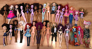 32 Used Doll Lot Monster High Ever After High Hasbro Mattel Bratz Barbie Fairy $40.00