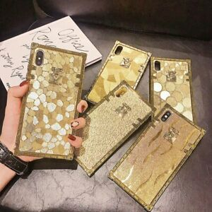 For iPhone 12 Pro Max 11 XS XR 6 7 8 Luxury Metal Square Bling Phone Case Cover $10.38