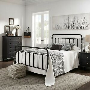 Queen Size Bed Vintage Antique Iron Metal Headboard Footboard Frame Black New $347.77