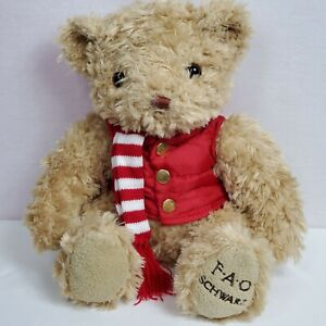 FAO Schwarz Bear Plush Stuffed Animal 12 Vest Scarf Toy C $13.37