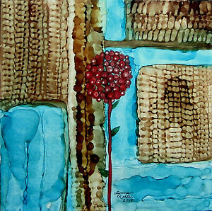 Original painting 8x8quot; canvas board teal blue brown red flower by Lynne Kohler $30.00