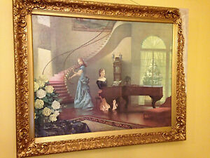 Antique 1930's Victorian Musical Morning Melodies By R. Brownell McGrew Litho $225.00