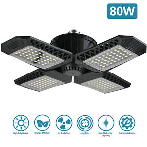 80W 8000LM LED Deformable Garage Light Ceiling Lamp Bulb w Adjustable Panels