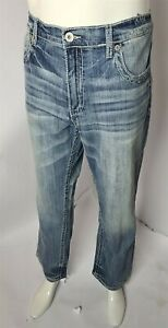 BKE Buckle Tyler Straight Stretch Cotton Denim Men#x27;s Designer Jeans 36S x 30