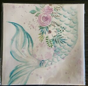 New Canvas Wall Art White Green Purple Mermaid Tail With Flowers 8x8in $11.50