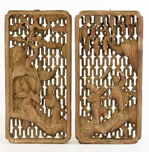 Pair of Antique Chinese Wood Carved Relief Panel w character story 19th c $99.00