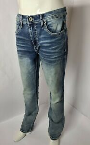 BKE Buckle Jake Straight Stretch Cotton Denim Men#x27;s Designer Jeans Size 33R x 32