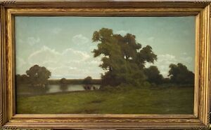 "ANTIQUE SIGNED ""RANSOM GILLET HOLDREDGE"" CALIFORNIA LISTED OIL PAINTING 20x36"" $1695.00"