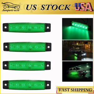 4x Green 3.8quot; LED Marker Lights for Truck Trailer Boat Neon Side Clearance Light