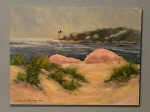 Seascape with Lighthouse Painting Indiana Artist Frances Rogers Brown County $49.00
