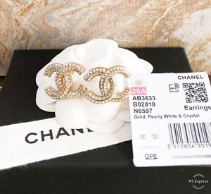 Chanel CC Crystal Pearl Chain Mania Gold Earrings $1095.00