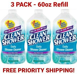 Clean Shower Daily Shower Cleaner Refill 60oz 3 Pack Free Priority Shipping $42.95