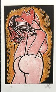 LUIS MIGUEL VALDES n151 Cuban Art Hand Signed Original Limited Edition Woodcut $175.00