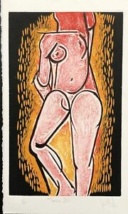 LUIS MIGUEL VALDES n153 Cuban Art Hand Signed Original Limited Edition Woodcut $175.00
