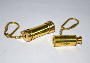 Antique nautical 2quot; brass kaleidoscope and 2quot; telescope brass key ring gift