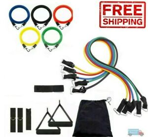 11 Pcs Resistance Bands Fitness Set Exercise with Handles Home Gym Tubes Workout $10.99